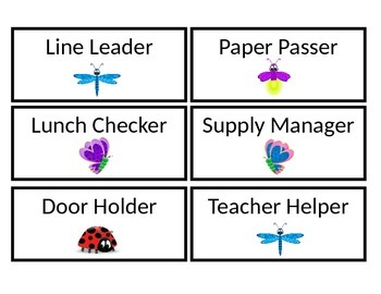 Bug Themed Classroom Jobs