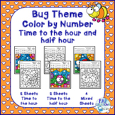 Bug Themed Color by Number Time to the Hour and Half Hour