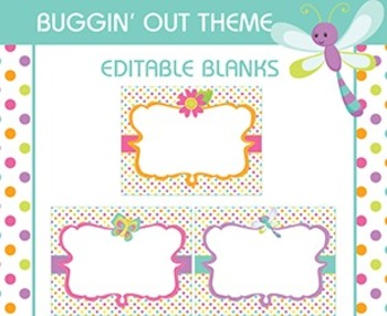 Bug Themed Editable Classroom Signs, Labels, Tags, Blank,