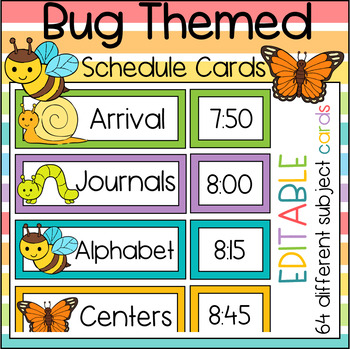 Bug Themed Editable Schedule Cards