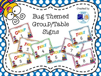Bug Themed Group/Table Signs
