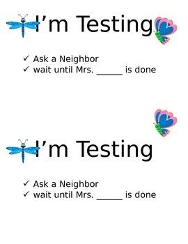 Bug Themed I'm Testing Signs