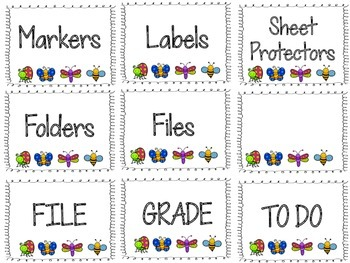 Bug Themed Labels