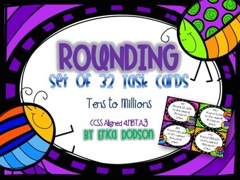 Bug Themed Rounding Task Cards