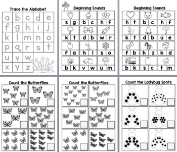 Bug Themed Sheets - letter tracing, counting, beginning sounds