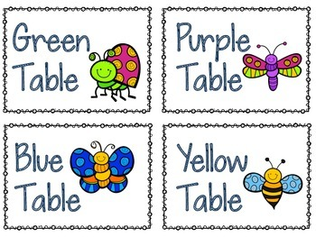 Bug Themed Table Labels