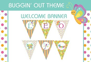 Bug Themed Welcome and Happy Birthday Classroom Pennant Banner - Bugs Insects