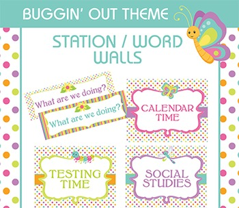 Bug Themed Word Walls Classroom Signs Posters, Schedule,Dots,Stripes,Insects