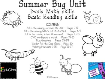 Bug Unit Reading and Math activities