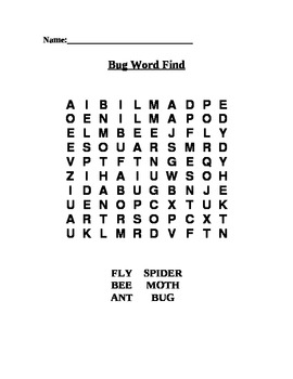 Bug Word Search