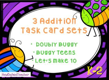 Buggy Addition Task Card Bundle: Grades K-2 Math Center or Independent Practice