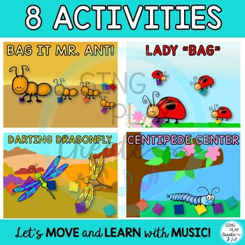 Buggy Bean Bag Activities and Games for Preschool, Music and Movement Classes.