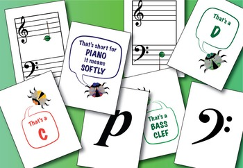 Buggy Bugston Note Name Flashcards