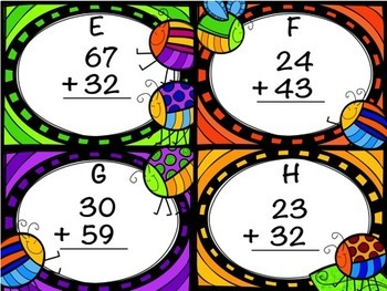 Freebie:  Double Digit Addition Without Regrouping Task Cards