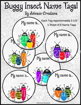 Buggy Insect Name Tags