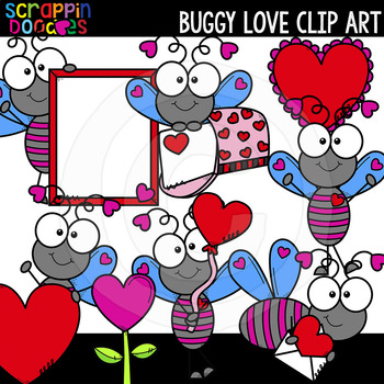 Buggy Love Valentine's Day Clipart {Scrappin Doodles Clipart}