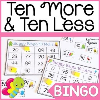 Bug Themed Ten More and Ten Less Bingo