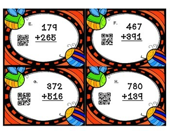 3-Digit Addition/Subtraction Task Cards with QR Codes