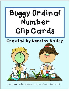 Buggy Ordinal Number Clip Cards