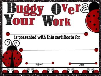 Buggy Over Your Work Award Certificate