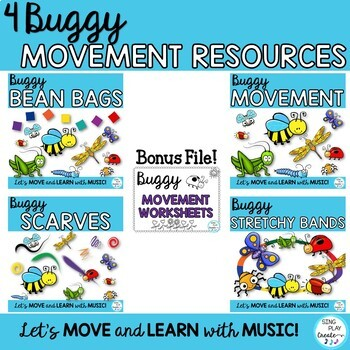 Buggy Scarf, Freeze Dance, BeanBag, Stretchy Band and Movement Activities Bundle
