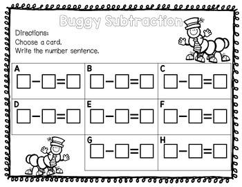 Buggy Subtraction Kindergarten Picture Subtraction