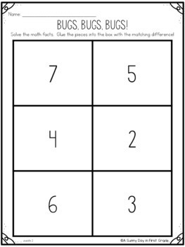 Buggy Subtraction Puzzles | Spring Math
