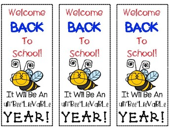 """Buggy Un""""BEE""""lievable Year Back to School and Open House Bookmarks Freebie!"""