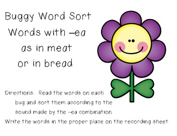 Buggy Word Sort - Sounds of -ea