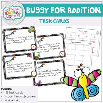 FREEBIE! Two Digit Addition Buggy for Addition! Task Cards