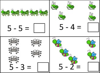 Bugs 1-5 Subtraction Dry Erase Cards