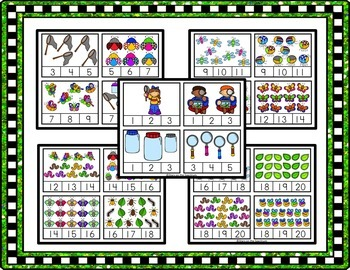 Counting 1-20 Bugs Clip Cards