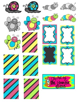 Bugs Bees Worms Snails with Matching Papers and Frames with blacklines