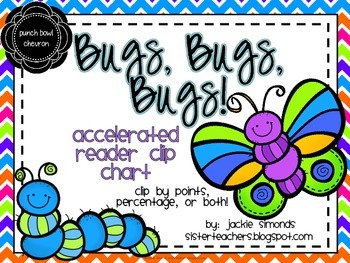 Bugs, Bugs, Bugs! Accelerated Reader Clip Chart **Punchbowl Chevron Background**