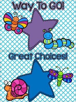 Bugs, Bugs, Bugs! Behavior Clip Chart **Blue Crisscross Background**