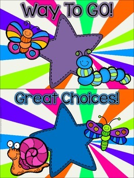 Bugs, Bugs, Bugs! Behavior Clip Chart **Colorful Starburst Background**