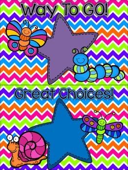 Bugs, Bugs, Bugs! Behavior Clip Chart **Punch Bowl Chevron Background**