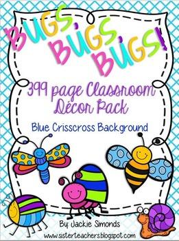Bugs, Bugs, Bugs! Mega Decor Pack **Blue Crisscross Background**