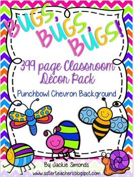 Bugs, Bugs, Bugs! Mega Decor Pack **Punch Bowl Chevron Background**