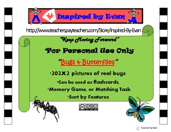 """""""Bugs & Butterflies"""" Picture Matching/Memory Game/Flashcards for Autism"""