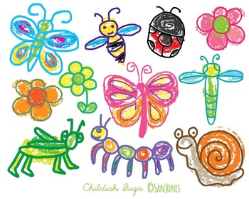 Bugs Clip Art - Colorful Insects Flowers -San Jones Hand drawn doodle