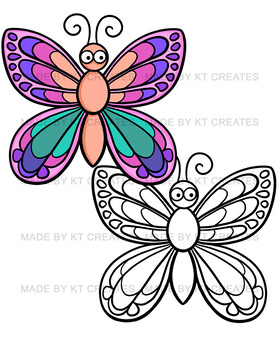 Bugs Clipart Set- 32 images, color/black and white (KT creates original)