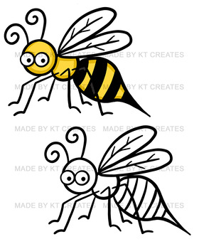 Bugs Clipart Set- 32 images, color/black and white (KT creates original)