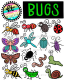 Bugs Clipart Set- 32 images, color/black and white (KT cre