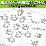 Bugs Color Coloring Worksheets - Color Recognition Activity