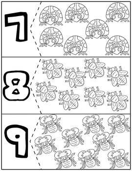 Bugs Coloring Quantity Puzzles | Numbers 1-10