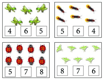 Bugs! Count and Clip Cards and Matching