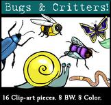 Bugs & Critters Clip-Art Set: 8 B&W, 8 Color