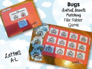 Bugs File Folder Game: Initial Sounds Match A-L