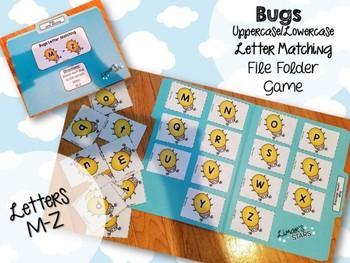 Bugs File Folder Game: UPPERCASE to Lowercase Matching M-Z